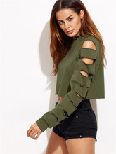 Crop Tops Women's Cotton Short T-shirt Casual Long Sleeve Hole Destroyed Army Green Color  Spring Summer Women Clothing 2019 цены
