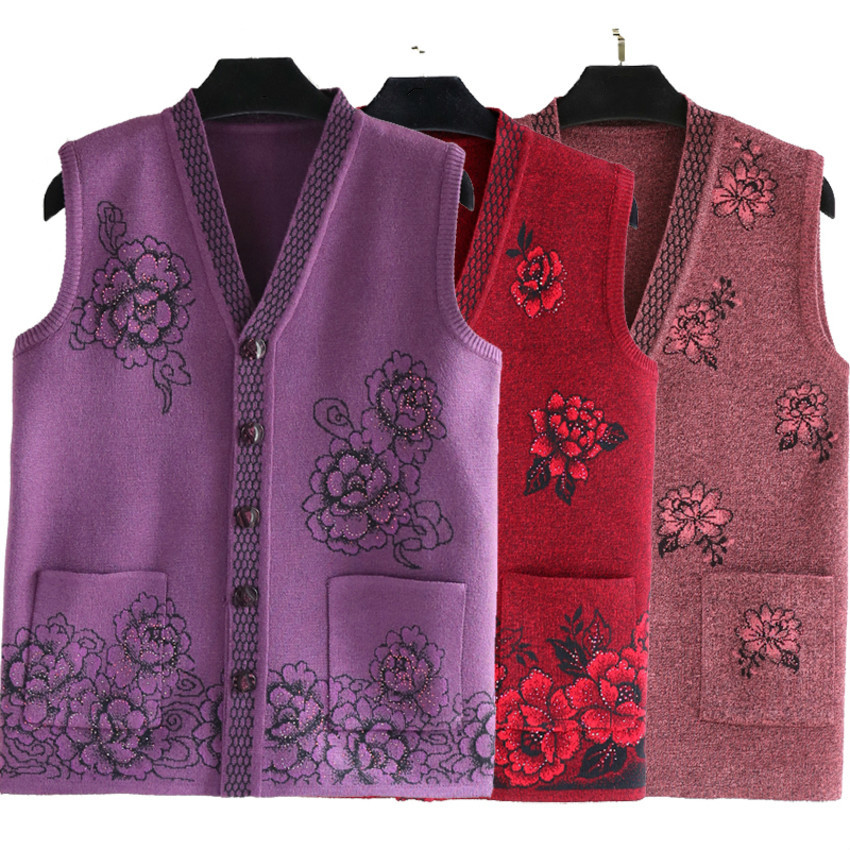 2019 New Middle Aged Women Spring Sleeveless Knitted Vest Woman Slim Knitting Cardigans Single Breasted Vest Plus Size 5XL in Vests amp Waistcoats from Women 39 s Clothing