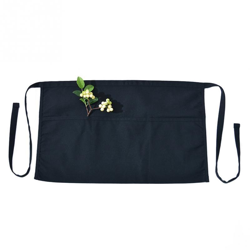 2dcf1814539 Black Bar Kitchen Restaurant Gardening Cotton Blend Short Half Waist Apron  Waterproof Anti-Oil Cafe