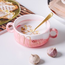 Marble Ceramics Bowl Grain Household Soup Western-style Restaurant Originality Pink Grey New