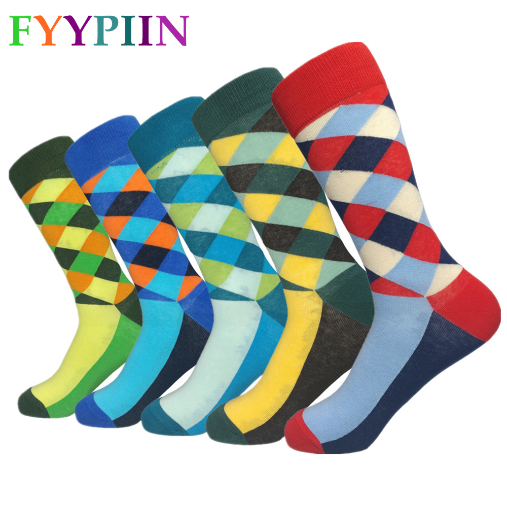 Sokken Real Socks Men 2019 New High Quality Lengthened Business Casual Cotton Latest Design Happy Clothes (5 Pair/lot)