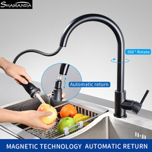 New Arrival Black/Chrome/Nickel Pull Out Spray 2 Ways Kitchen Faucet Hot And Cold Sink Mixer Water Tap Single Hole
