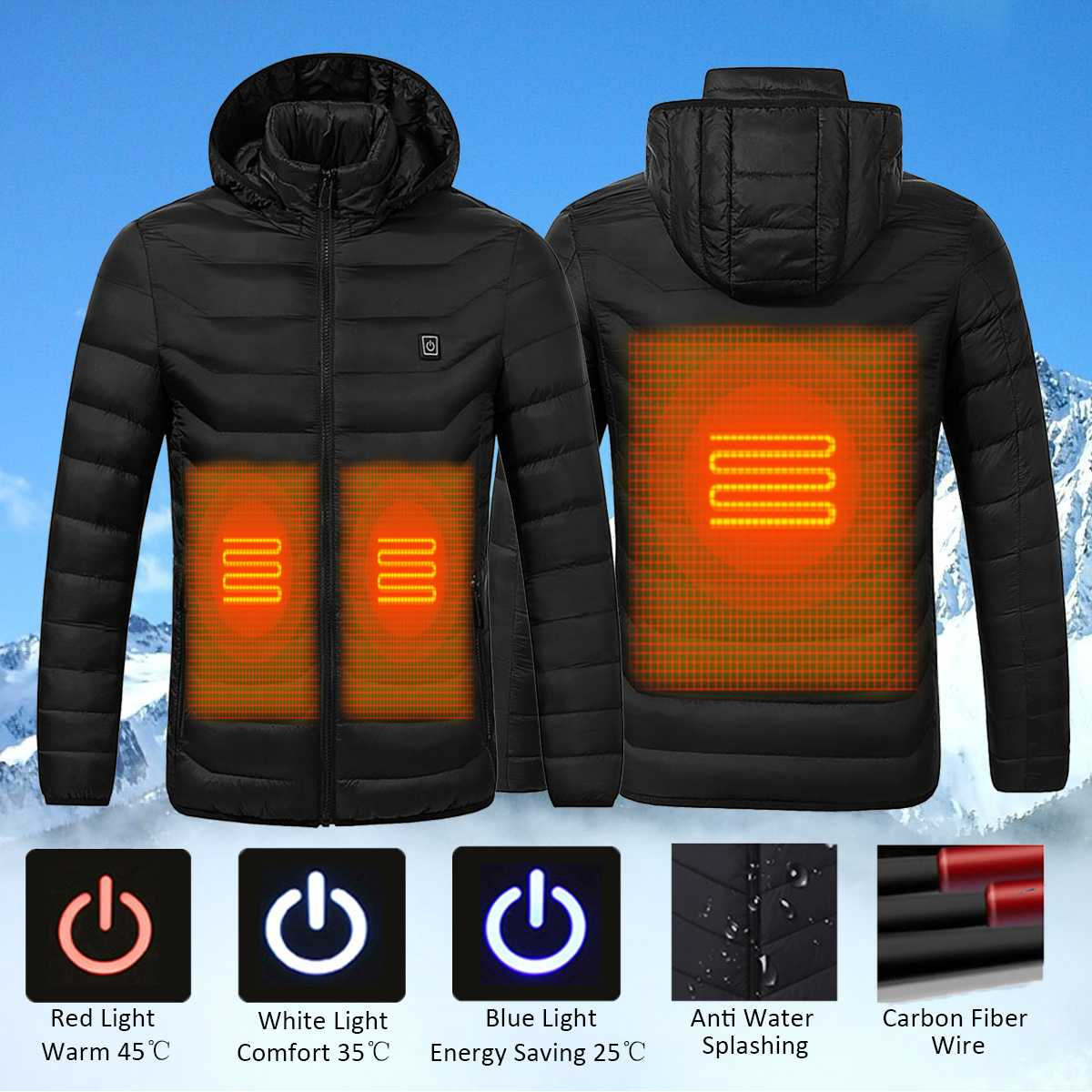 NEW Universal Winter Electric Heating Hooded Coat Jacket Temperature Control USB Abdomen Back Intelligent Safety Vest Clothing(China)