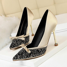 New Pointed Toe Crystal High Heels Shoes Woman Yellow Bowtie Stiletto Pumps Ladies Fashion Party Wedding Dress Shoes DS-A0339 цена 2017