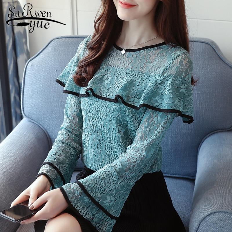 fashion woman   blouses   2018 Sexy hollow lace women   blouse     shirt   long sleeve green lace ladies tops blusas feminine   blouse   0717 40