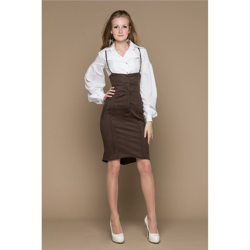 Smart skirt with high waist lace and bow back knot front zip up back skirt
