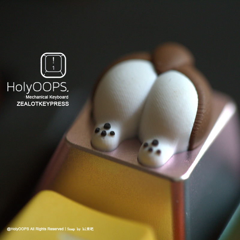 1pc Holyoops Corgi's Butt Silica Gel And Aluminium Alloy Key Cap Mechanical Keyboard Key Cap