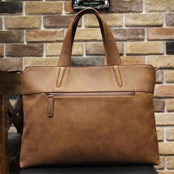 New Fashion Creative Crazy Horse Leather Men Handbag Coffee Business Briefcase Single Shoulder Crossbody Bag High Quality Packet