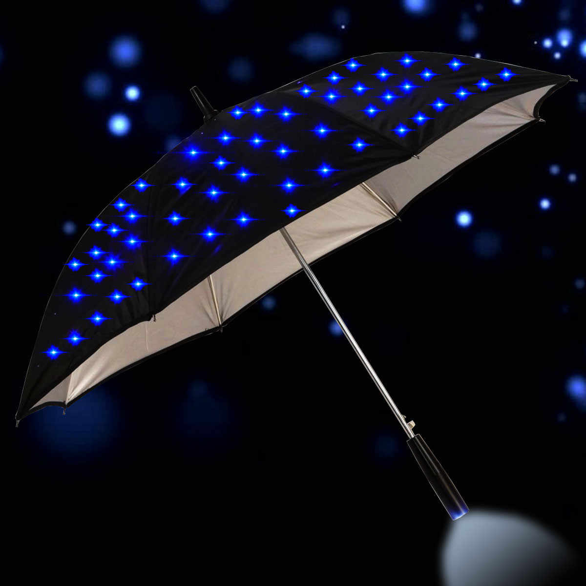 23 inch Outdoor Cool Long Handled LED Flashing Rain Umbrella Night Protection Fashion Gift Large Handle Straight Flash Parasol