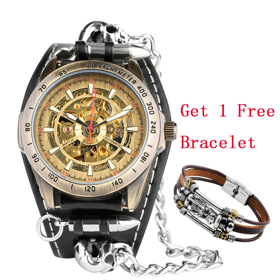 Casual Self-Winding Mechanical Men Watch Bullet Chain Design Skeleton Watch Steampunk Fashion Mens Watches Waterproof SportCasual Self-Winding Mechanical Men Watch Bullet Chain Design Skeleton Watch Steampunk Fashion Mens Watches Waterproof Sport