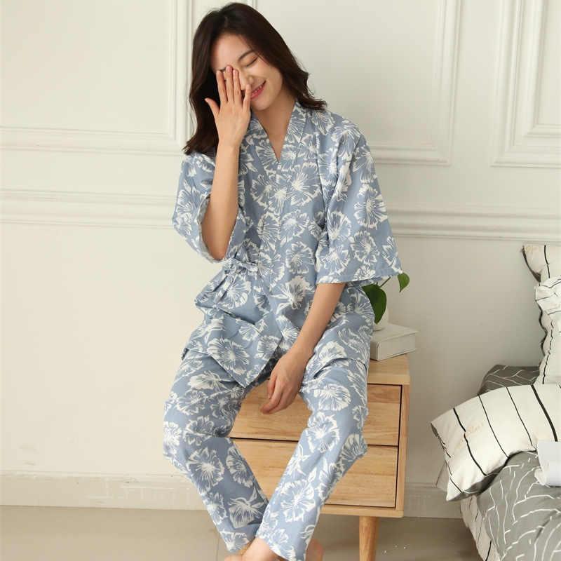4ba9e686f0 Plus Size Summer Retro Japanese Style Pajama Sets 100% Cotton Gauze Kimono  Suit Loose Womens