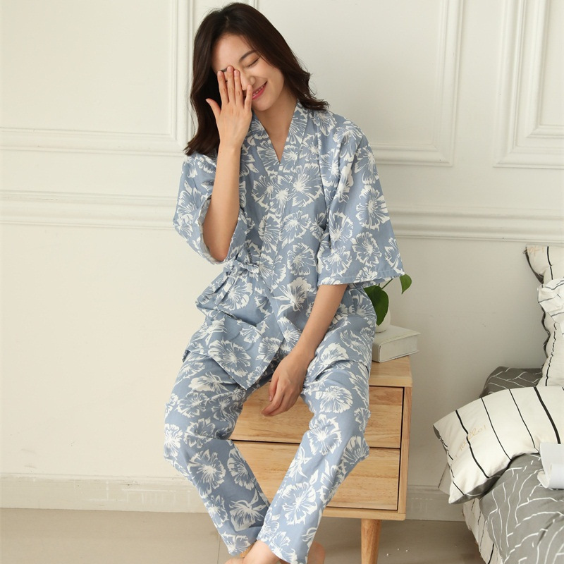Plus Size Summer Retro Japanese Style   Pajama     Sets   100% Cotton Gauze Kimono Suit Loose Womens Pyjamas Sleepwear Female Home Suit