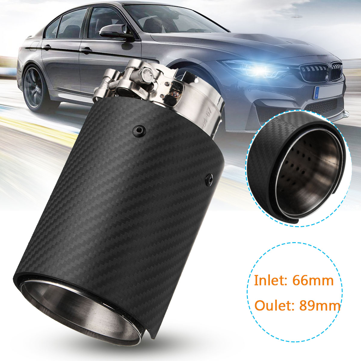66mm 89mm Universal Auto Carbon Fiber Rear Exhaust Tips Steel Muffler Pipes For BMW M Series