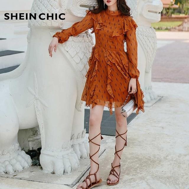 22e378f822 Piste 2019 été Designer nouvelles femmes robe élégante Orange à pois  imprimé volants Boho Chic vacances plage Vestidos