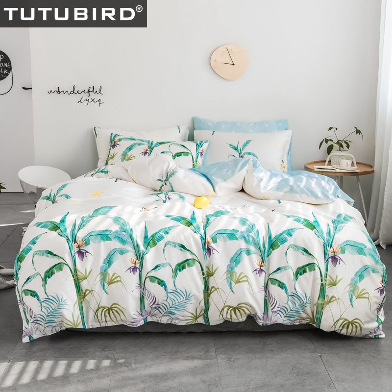 Ensemble de literie imprimé arbre plante tropicale literie enfants adulte pastorale linge de lit doux double reine roi housse de couette textile à la maison