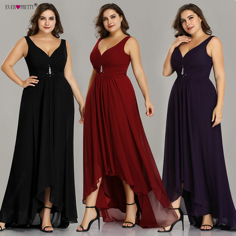 Plus Size Prom Dresses Long 2019 Elegant Burgundy A-line Sleeveless Crystal High Low Ever Pretty Special Occasion Party Gowns