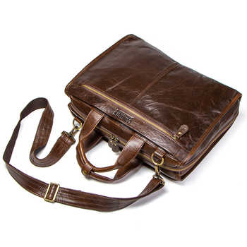 Top Quality Cowhide Leather Men\'s Bag For 15.6 Inch Laptop Man Computer Bag Mens Shoulder Bags Luxury Handbags Travel Briefcases