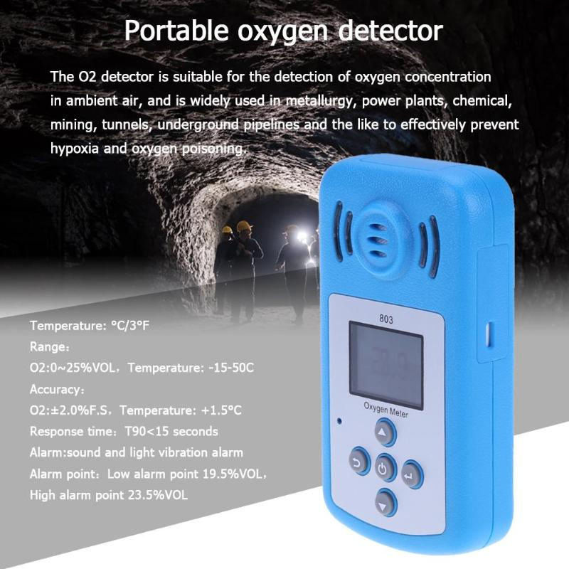LCD Display Digital Oxygen Meter Portable Sound light Alarm Oxygen O2 Concentration Detector