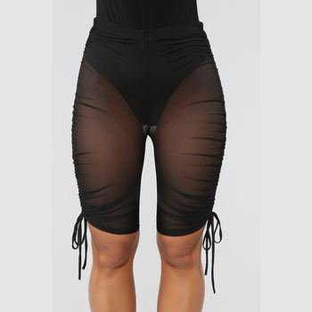 Sexy Women Mesh Swimsuit Cover Up Sheer Perspective Swimwear Short Trouser See Through Solid Casual Holiday Beach Clothes Summer