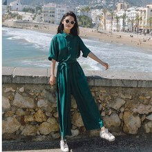 2019 Summer Women Green Casual Jumpsuit Short Sleeves Wide Legs Jumpsuit Thin Sashes Loose Overalls Female plus size plain loose wide legs jumpsuit