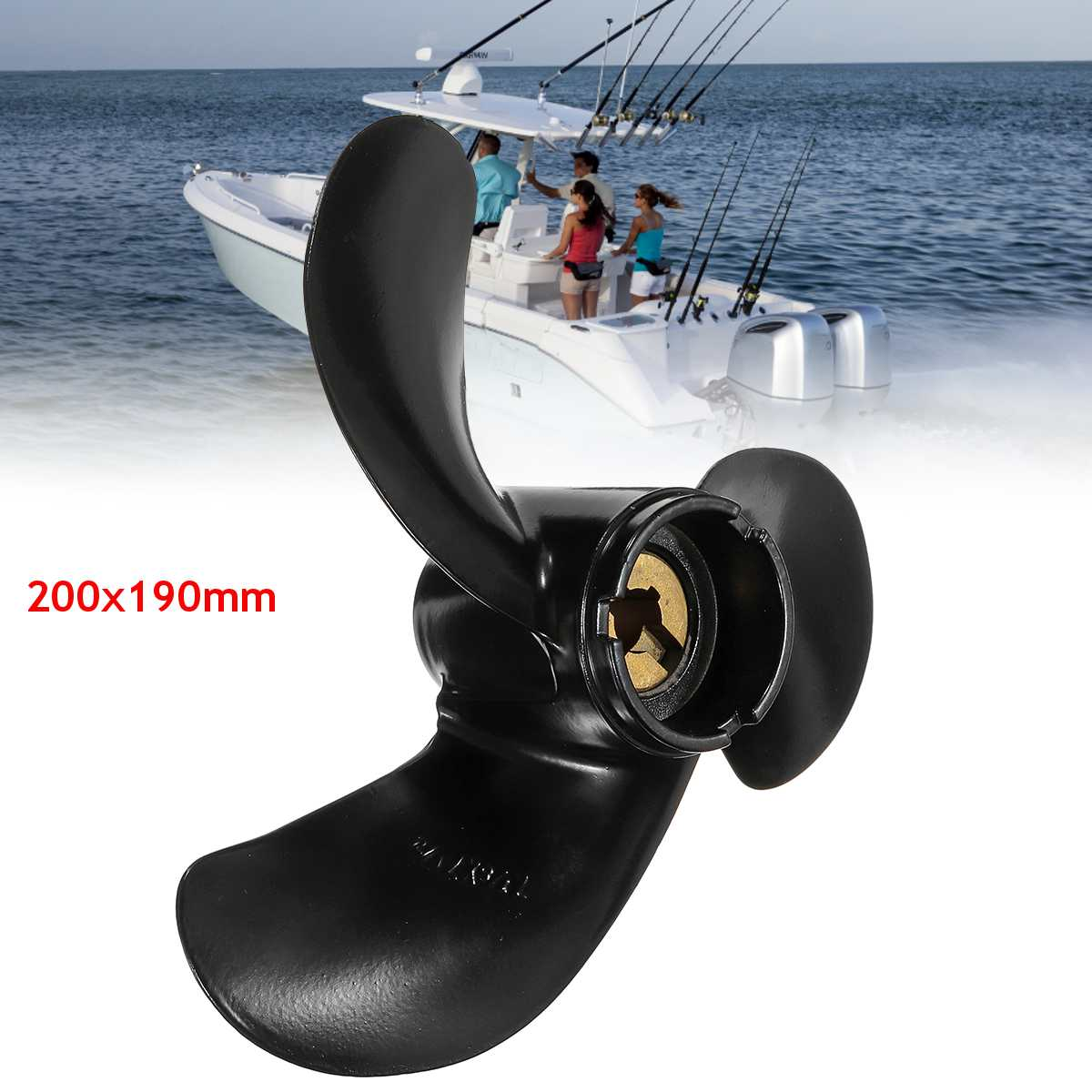 6011 079 07P 7 7/8 x 7 1/2 Propeller For Honda Boat Outboard Engine 5HP Black Aluminum Alloy 3 Blades R Rotation Marine Parts