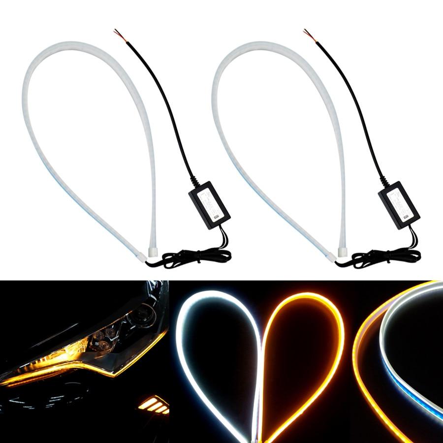 2x Ultrafine Ultra Thin 45cm DRL Daytime Running Light Flexible Soft Tube Guide Car LED Strip Turn Signal Yellow Flowing