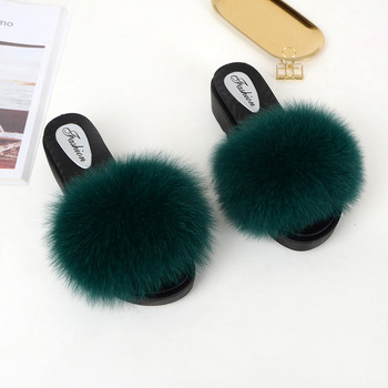 Real Fur Slippers Wedges Women Slides Platform Fluffy Summer Home Shoes Woman Luxury Brand Female Sandals Med Heel Fashion 2019 1