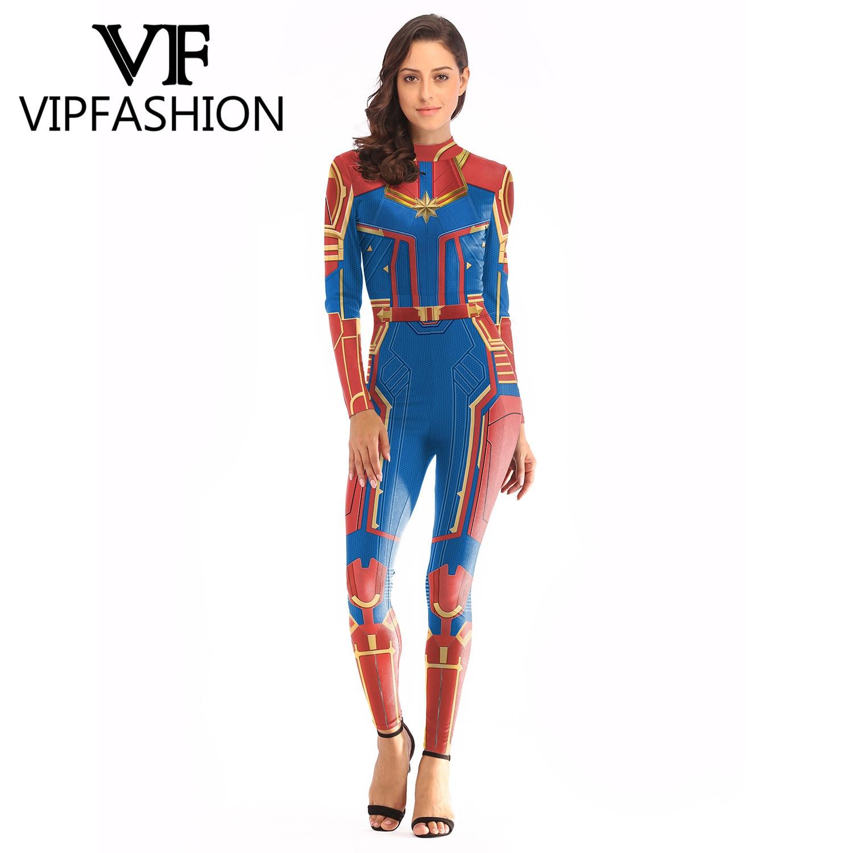 VIP FASHION 2019 3D Captain Costume Cosplay Women Plus Size Bodysuit Marvel Movie Jumpsuit Costumes For Women