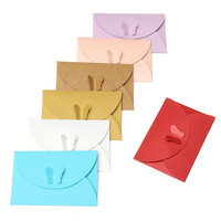 100pcs Mini Colored Butterfly Buckle Paper Envelopes DIY Retro Blank Invitation Envelope for Wedding Party Greeting Card