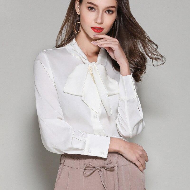Blanc soie blanc mousseline de soie bureau blouse femmes hauts et chemisiers 2019 élégant vintage sexy boho à manches longues grande taille noeud papillon