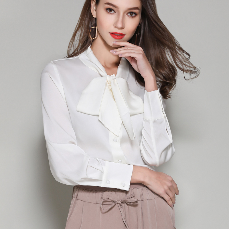 White Chiffon Shirts Vintage Long-sleeve Bow Knot Blouses  Shirt Office Tops
