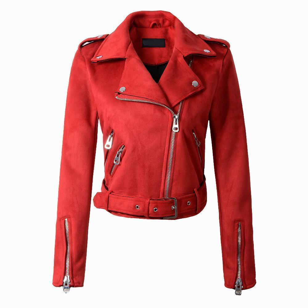 2018 Hot Sale Women Faux   Leather   Jacket Moto Biker Zip Coats Chaqueta Blazer Pu Jaqueta Couro Rock Femme Casaco