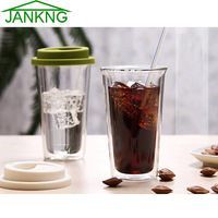 Fruit Milk Juice Breakfast Heat resistant Double Wall Glass Cup with Silicon Cover Bottom Clean Coffee Tea Glass Mug Handmade