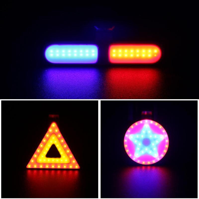 USB Charging Bike Rear Light Highlight COB Lamp Beads Cycling Warning Light black PC engineering plastic aluminum light board