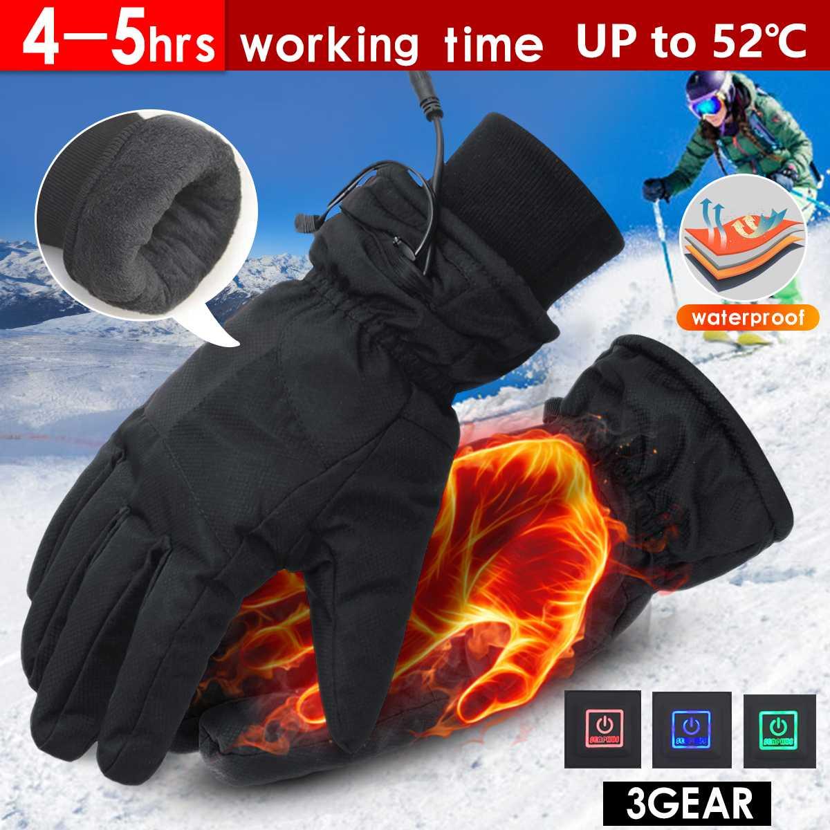 1 paire Électrique Gants Chauffants batterie au lithium Alimenté Thermique Chauffage Gants pour Hommes D'hiver chauffe-mains Snowboard Ski Gant