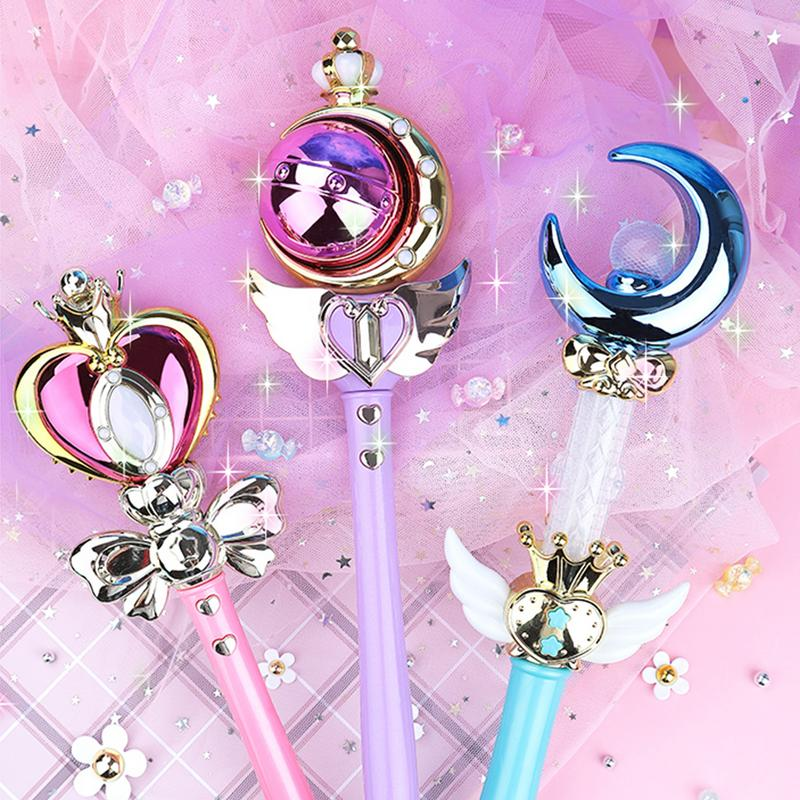 1 Pcs Girl Magic Wand Play Toy Magic Illuminate Cane Educational Cosplay Toy Fairy Glow Stick For Children Cosplay Toy