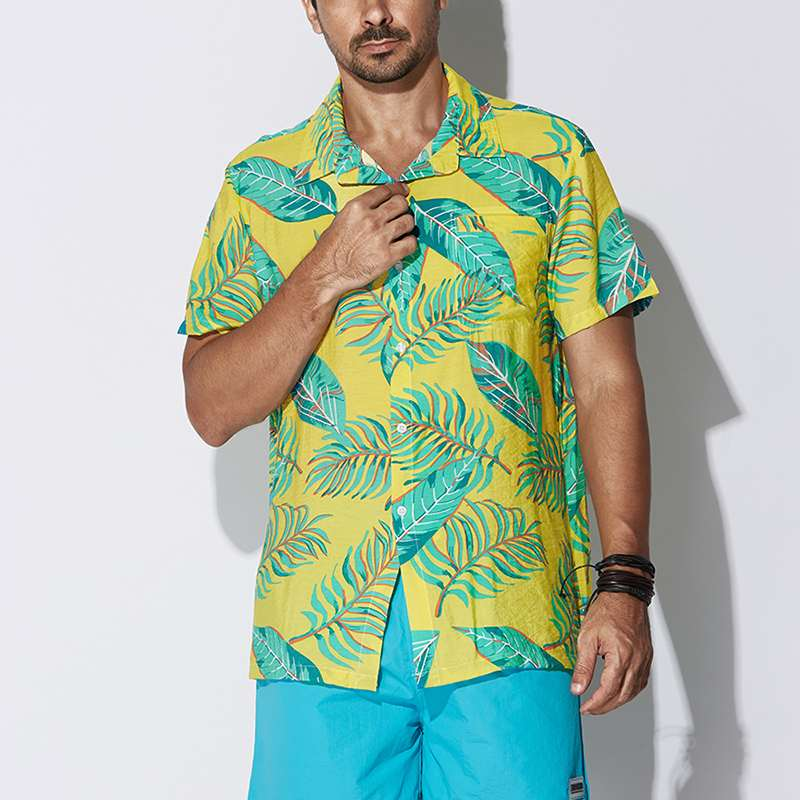 Casual Vacation Bright Hawaiian Cotton Short Sleeve Lapel Collar Leaf Pattern Tee Camisas Chemise Fashion Mens Clothing Big