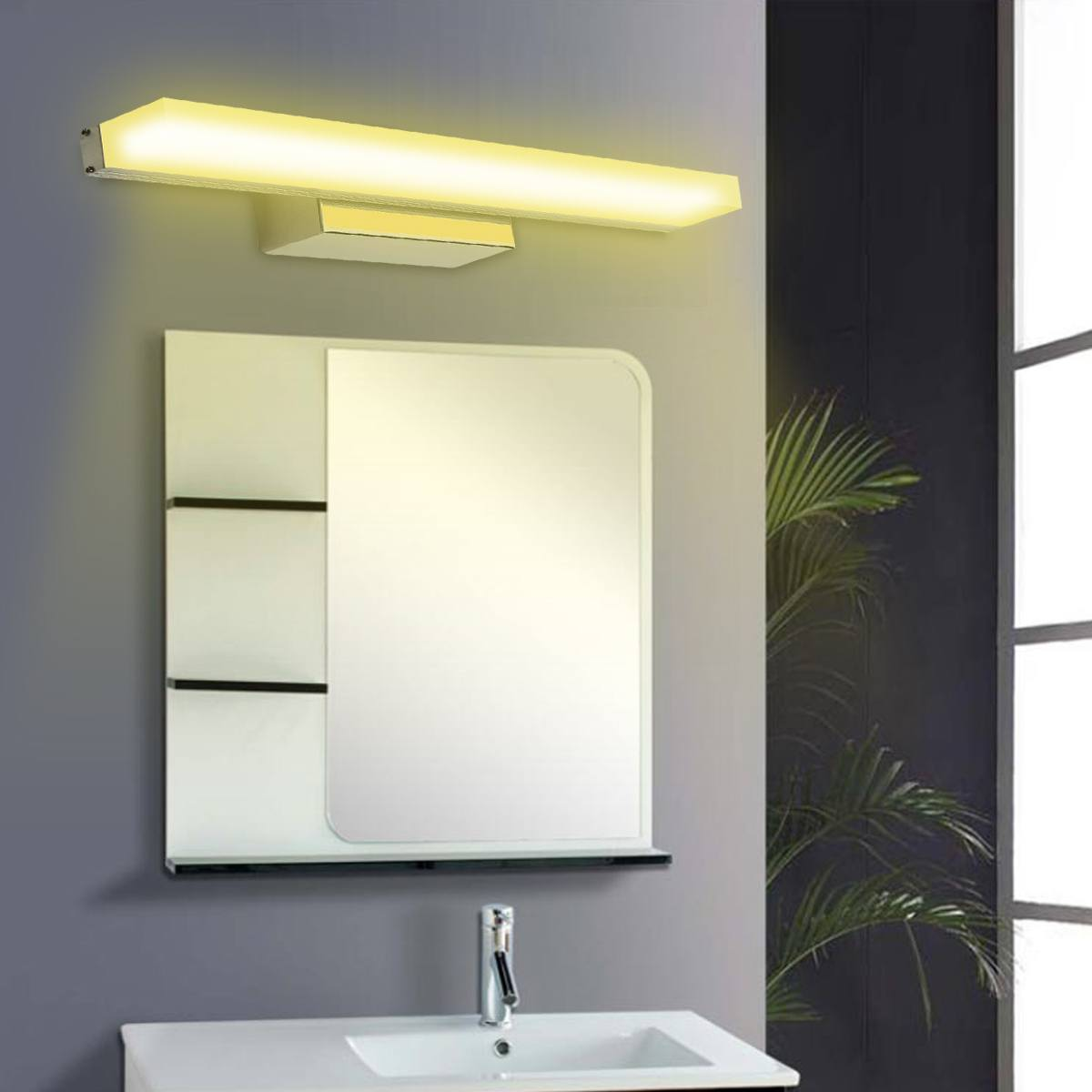 Smuxi 100cm 16W 88LED Mirror Front Lamp Morden Bathroom Toilet Vanity Wall Makeup Light Wall Lamp Stainless Steel 1280lm 85-265VSmuxi 100cm 16W 88LED Mirror Front Lamp Morden Bathroom Toilet Vanity Wall Makeup Light Wall Lamp Stainless Steel 1280lm 85-265V