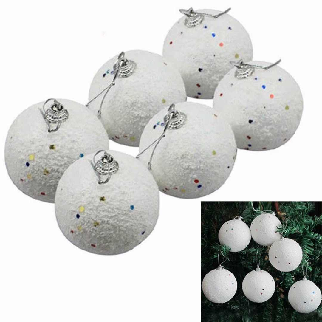 White 6 Pcs Christmas DIY Snowball Balls Party Ornaments Xmas Tree Hanging Decoration