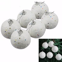 Biały 6 sztuk boże narodzenie DIY śnieżki kulki ozdoby imprezowe wiszące dekoracje choinkowe tanie tanio Christmas Snowball Decor