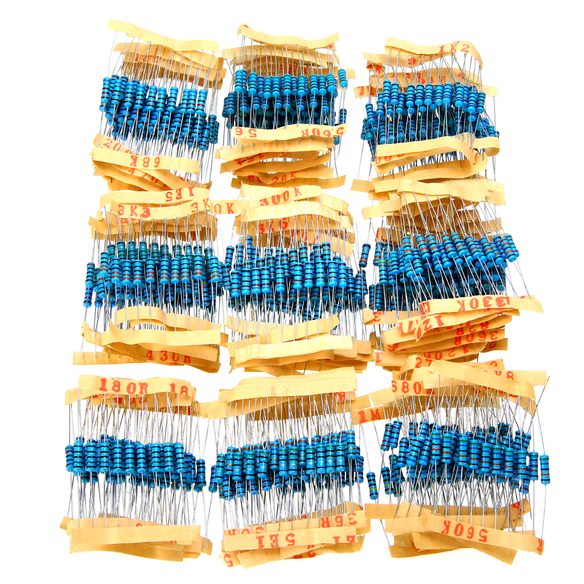 1000pcs 1% 1W Metal Film Resistor 100 Values Assorted Kit Set 1 Ohm~10M Ohm  Pack 100 Values Each 10pcs