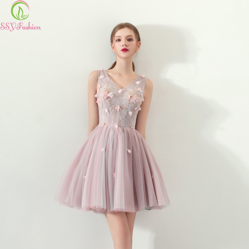 SSYFashion New Cocktail Dresses Sweet Pink Lace Appliques Beading A-line V-neck Short Formal Party Gown Bride Dresses Custom