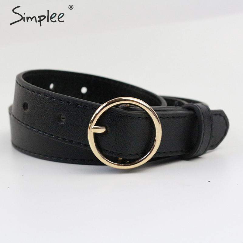 Simplee Vintage fashion women   belt   Solid round shape buckle classic black waist   belt   Casual metal leather female long   belts   2019