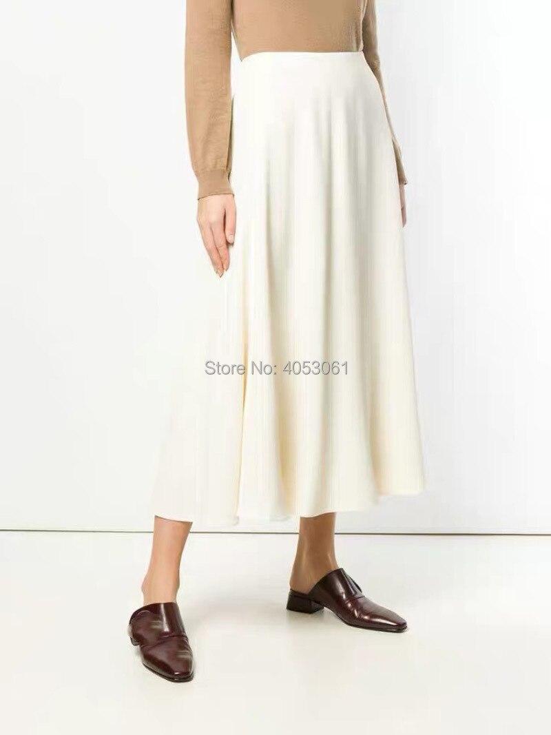 Viscose Solid Color Black Beige High Waist Long Flow Skirt With Side Zipper 2019 Spring Summer