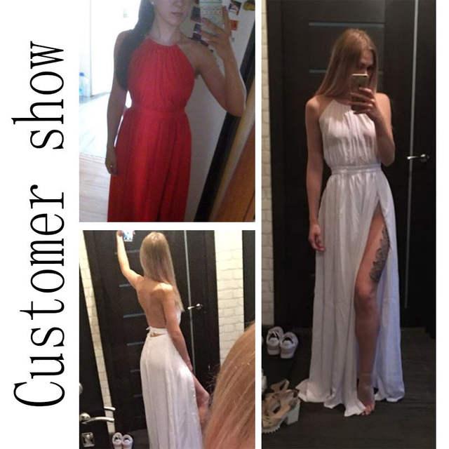 82e59a29b66 placeholder NATTEMAID Women Chiffon Hater neck Maxi Dress Red Beach Boho  Long Dress White Bridesmaids Floor length