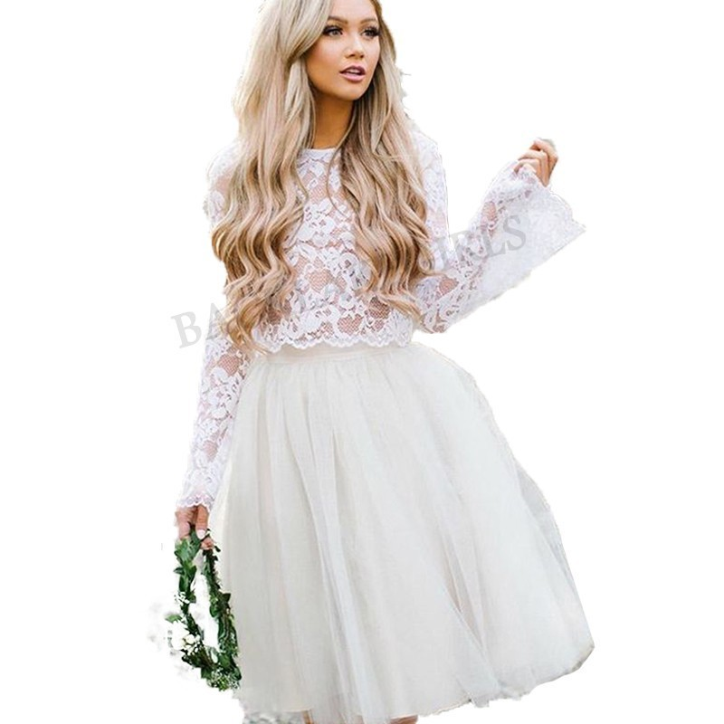 Us 160 82 Stare Sleeves Wedding Dress Lace Knee Length Bride Two Pieces Top Beach Informal Robe De Mariee 2019 In