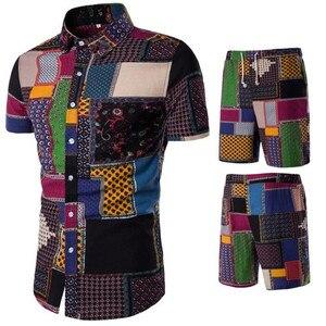 Image 4 - شورتات قصيرة بحزام للرجال مجموعة قميص زهري للربيع غير رسمي سراويل قصيرة مربوطة قمصان مزهرة بأكمام قصيرة مع سراويل قصيرة M 5XL