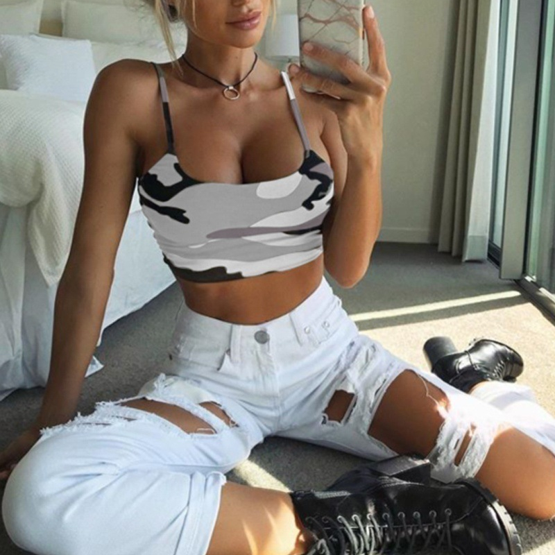 2019 New Fashion   Tank     Top   Bustier Bra Vest Crop   Top   Women Bralette Blouse Singlet Camouflage Shirt