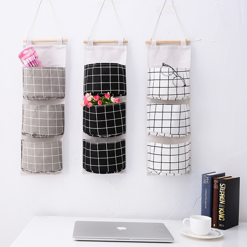 Originality Cotton Waterproof Organizer Storage Bag 3 Layer Hanging Pocket Lattice Cloth Door Back Accept Vakuum Bag Clothes-in Storage Bags from Home & Garden
