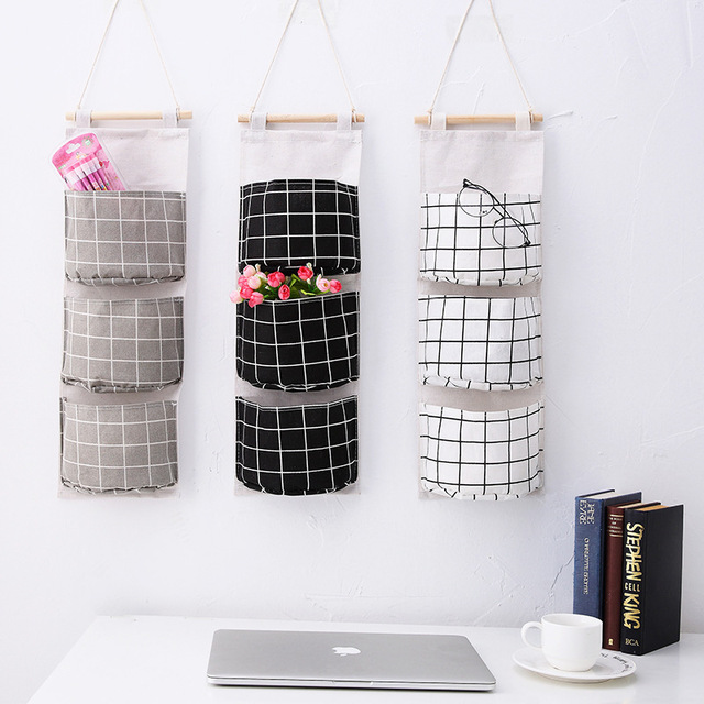 Originality Cotton Waterproof Organizer Storage Bag 3 Layer Hanging Pocket Lattice Cloth Door Back Accept Vakuum Bag Clothes